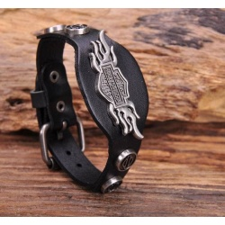 Cool Wings Metal Cuff Leather Bracelet